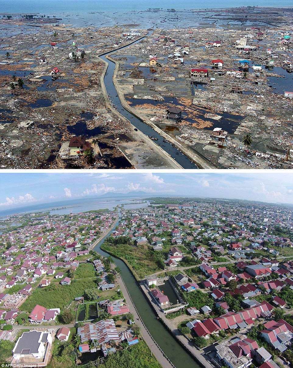 The district of Banda Aceh in Aceh province, located on Indonesia's Sumatra island, just days after the massive Boxing Day tsunami of 2004, and below it the same location photographed on December 1, 2014