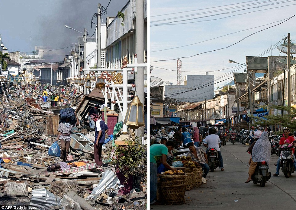 The left photograph taken three days after the tsunami in 2004, shows residents walking over huge pile of debris covering the street of Banda Aceh, and the same location photographed on November 27, 2014