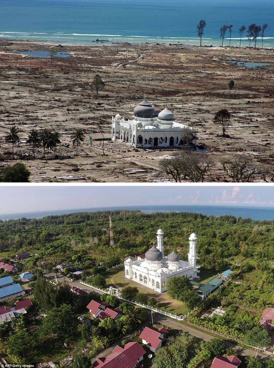 The top photograph was taken with a telephoto lens on January 16, 2005, more than two weeks after the tsunami, showing a partly damaged mosque in the Lampuuk coastal district of Banda Aceh, staining alone in the debris, and photographed again, below, this month