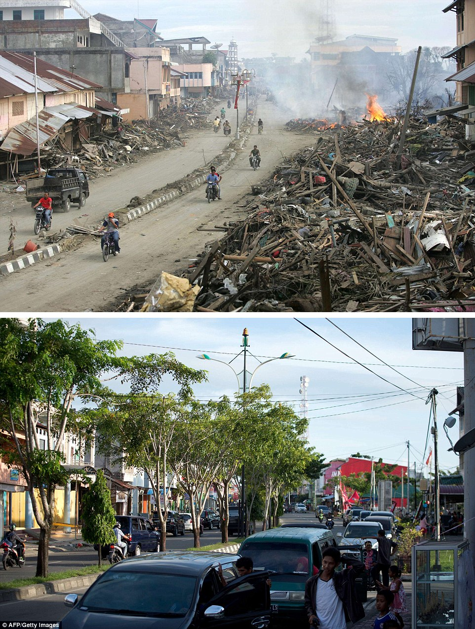 The first photograph was taken on January 9, 2005, just over a week after the tsunami, showing a of a street which had been cleared, but still had huge piles of debris on either side, in Meulaboh in Aceh, and the same location photographed on November 29 this year