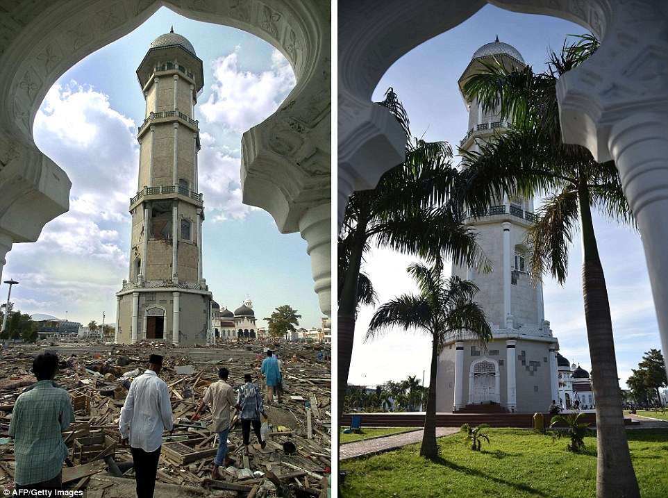 The left photograph shows debris scattered across the grounds of Banda Aceh's Baiturrahaman mosque in Aceh province, two days after the tsunami, and right, taken on November 27 this year, shows the renovated grounds